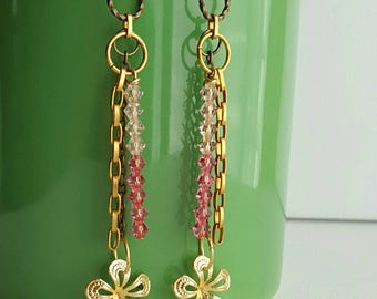 Dangle Earrings. Mixed Gold and Brass Metal. Flower drop. Pink crystal.