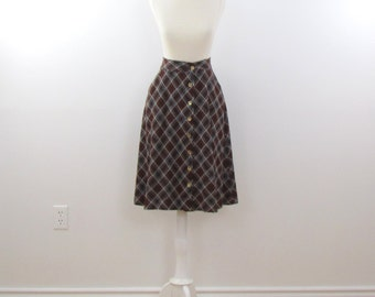 Preppy Plaid Skirt - Vintage 1970s A Line Jersey Knit Skirt in Brown