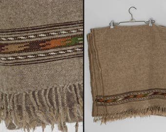 Tribal WOOL Blanket 1970s Oatmeal Brown Orange + Green Fringed Earth Tones 98 x 47