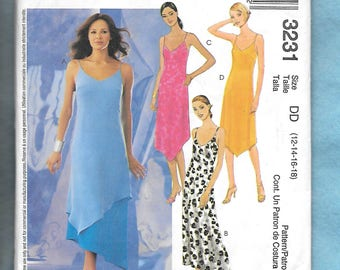 McCall's 3231 Misses' Dress With Spaghetti Straps, And Asymmetrical Shaped Hemline, Sizes 12-14