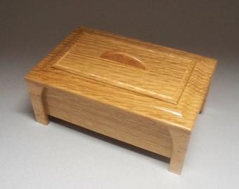 Quartersawn White Oak & Bird's-eye Maple Leg Box- Lacquer Finish, Treasure Box, Home Decore, Trinket Box, Small Wooden Box, Keepsake Box,