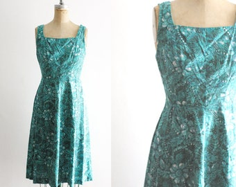 Vintage 1950s Teal Floral Sundress 50s Sundress Teal Sundress 60s Dress Teal Dress Teal Floral Dress Paisley Dress Teal Paisley Small
