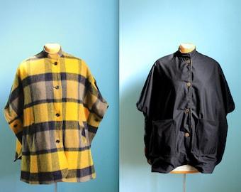 vintage yellow and black reversible wool cape / rain coat / poncho / one size fits all / buffalo plaid / womens medium large xlarge