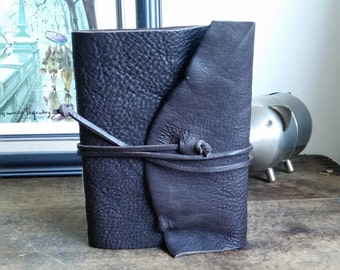 "Slim Leather Journal - Dark Brown Journal 4.5"" x 6"" by The Orange Windmill 1737"