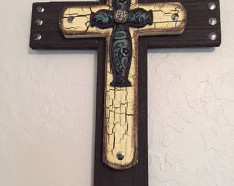 Layered Cross, Rustic Wooden Cross, Multi-Layered Wooden Cross, Reclaimed Wood Cross