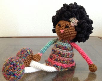 READY TO SHIP Crochet African American Doll in pink, green, white, multicolored Plush Afro Natural Black Hair Stuffed Toy Baby Girl Gift