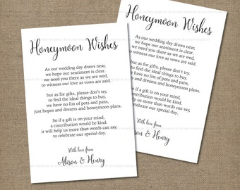"Wedding Gifts List card information, Honeymoon fund, 4x6"" Simple Invitation, Vintage, Rustic and Romantic, Printable digital file"