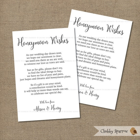 Wedding gifts list card information honeymoon fund 4x6 for Wedding registry house fund