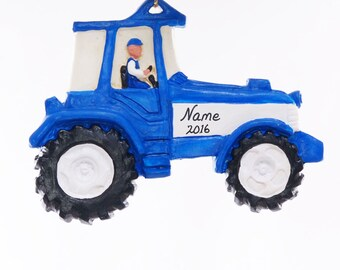 Personalized tractor ornament - blue and white tractor Christmas ornament personalized free with your choice of name  - made in the USA