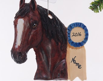 Show Horse Christmas Ornament personalized with your favorite equine or equestrians name written on the blue ribbon made in the USA  (227)