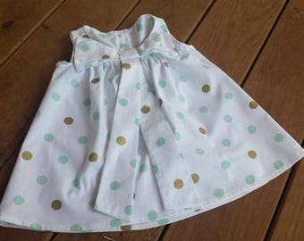 Infant Girl Bow Front Dress - White with Mint Green & Gold Dots - Size 12 months - READY TO SHIP