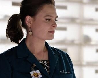 Worn on TV , As seen On Bones , As seen on Bones Dr Brennan , Bronze Triangle earrings , Geometrical earrings , Golden earrings , Tribal