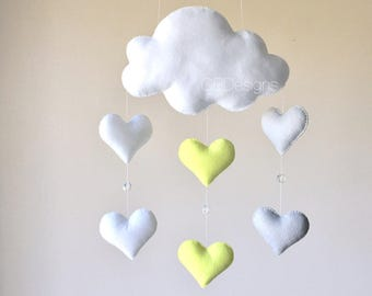READY TO SHIP Baby mobile - baby mobile cloud - neutral nursery - raindrops mobiles - Heart mobile - cloud mobile - yellow and gray mobile