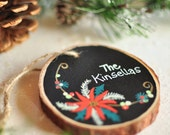Personalized Family Name Ornament. Christmas Ornament. Married Couple Ornament. Holiday Decor. Custom Gift for Couples. Tree Slice Ornament