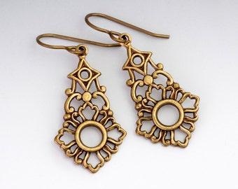 Antiqued Brass Filigree Earrings, Nickel Free Filigree Jewelry, Hypoallergenic Earrings, Metal Earrings, Bronze Earrings, Euterpe