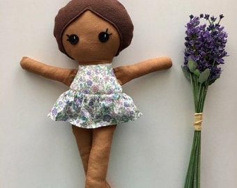 Ready To Ship - Handmade Floral Doll - Brown Skin and Brown Haired Doll - Spring Floral Doll - Baby Nursery Decor - Easter Gift