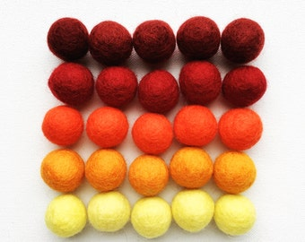 Fall Felt Balls, Thanksgiving Felt Ball Set, Autumn Hues Felt Balls, 25 Pieces Wool Felt Balls