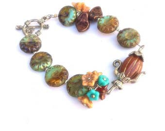 Czech Beaded Bracelet, Coffee  Pot Bracelet,Teapot Tea Pot bracelet, floral Bracelet Boho jewelry  by Lyrisgems