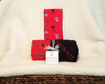 Texas Tech Baby Blanket NAME Embroidered Shower Gift Set Boy Girl Bedding