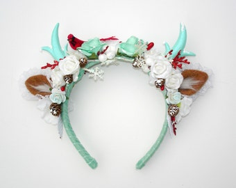 Christmas Antler Headband-Christmas Headband-Deer Headband-Lolita-Harjuku-Christmas Gift-Gift For Her-Lolita Headband-Women Headband