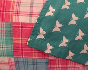 Plaid, Receiving Blanket, Baby Blanket, Reversible Blanket, Flannel, Pink, Aqua, Blocks, Teal, Butterflies