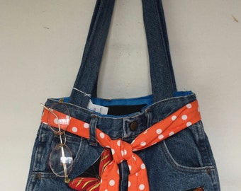 Bright Butterfly Girl's Lady's Denim Blue Jeans Purse Bag