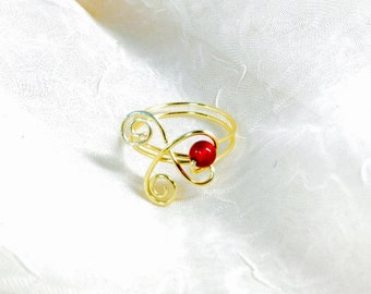 Gold Wire Wrapped Carnelian Gemstone Heart Ring
