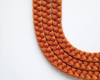 gift for her, braided necklace, tribal necklace, statement necklace - The triple braid necklace - handmade in orange copper fabric