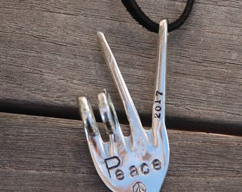 Ornament PEACE 2017 Hand stamped Recycled Fork // peace sign stamp on BLACK suede leather