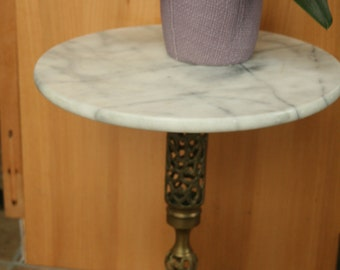 Vintage Hollywood Regency Plant Stand, Table, Vintage Marble and Brass Occasional Table, Brass Plant Stand