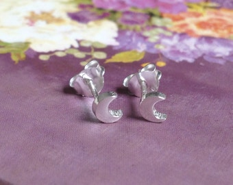 Silver Moon Earrings - Tiny Solid Sterling 925 Silver Small Half Cresent Ear Studs