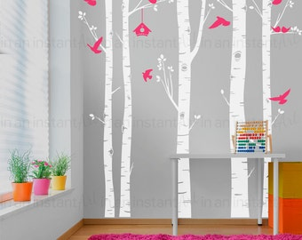 Birch Tree Wall Decal | Five Birch Trees with Birds and Hanging Birdhouse | Baby Nursery, Children's Room, Living Space Interior Design 055