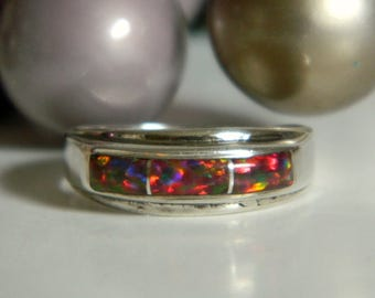 Simple & Rustic Handcrafted Band Style Silver Ring w/ Opal Like Focal- Size 7 Primitive Pink Purple Rainbow Fire Iridescent Funky Gift