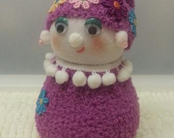 "7"" Sock Doll, Ornamental Doll, One of a Kind, Fantasy Doll, Sock People. Fancy Sock Dolls. FREE UK DELIVERY"