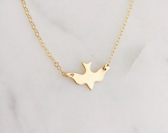 Gold Bird Necklace | 14k Gold Filled Dove Necklace |Dainty Necklace | Minimal Modern Necklace, Gold Filled Bird Necklace | Gift For Her