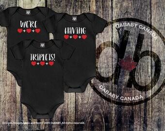 We're Having Triplets Baby Announcement - Triplets Pregnancy Birth Announcement - Surprise We're Pregnant With Triplets - Triplets Clothing