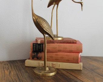 Vintage Solid Brass Cranes, Mid Century decor, Brass birds, Herons, Egrets, Hollywood Regency,