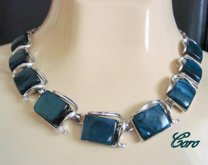 Vintage CORO Designer Signed Iridescent Navy Blue Thermoset Necklace / Mid Century Jewelry / Jewellery