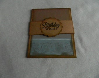 Gift card holder kraft card stock with teal & brown Birthday Wishes