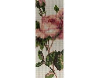 Vintage Rose 4 Loom Bead Pattern, Bracelet Pattern, Bookmark Pattern, Seed Beading Pattern Miyuki Delica Size 11 Beads, PDF Instant Download