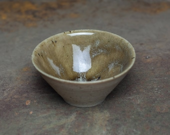 Crazing glaze, small tea cup, Wood fired stoneware, ceramic pottery tea bowl,sake cup, whiskey cup