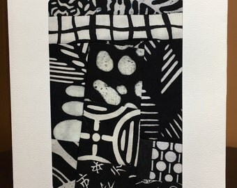 Black and White Mini Art Quilt//Art Quilt Blank Notecard//Art Card//Thank You Note//Greeting Card//Thank You Gift//FREE SHIPPING
