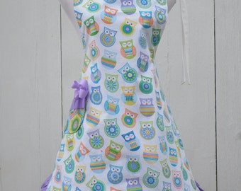 Owl Apron Reversible Apron Women's Full Cooking Apron, Ready to Ship One Size Fits