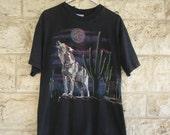 Wolf T Shirt Cactus T shirt Howling at the Moon Black Tee Southwest Night Sky 90's Large T shirt Medium