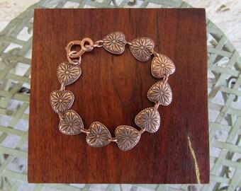 Copper Heart Bracelet Vintage Copper Southwestern Bracelet Wheeler Manufactoring Link Bracelet Copper Concho Bracelet