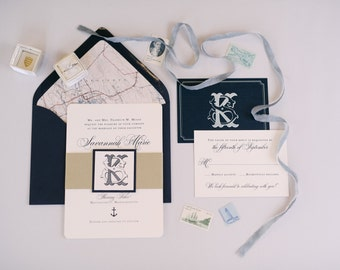 Wedding Invitation - Nautical - Elegant - Nautical Wedding - Anchor - Navy - Printed Invitation - Nautical Invitation - Monogram