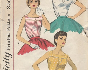 1950s Summer Blouse Pattern Simplicity 2120 Size 16