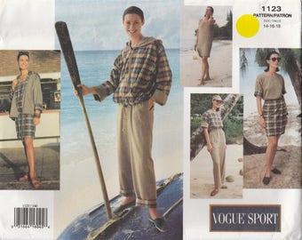 Hoodie, Wrap Skirt, Top & Pants Pattern Vogue 1123 Sizes 14 16 18