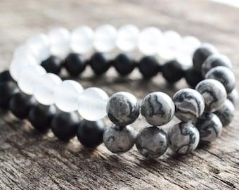 Bead Bracelet Set • Couples Bracelets • Distance Bracelets • Friendship Bracelets • Onyx & Jade • Stacking Bracelets • Jewelry Set • Gifts