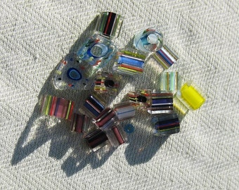 Funky Striped Glass Bead Lot  - 19 pcs - Jewelry Making Supplies